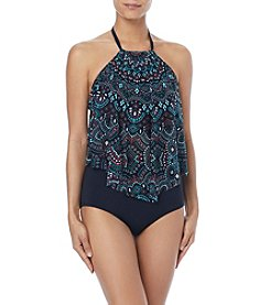Coco Reef Printed Mesh Overlay Halterkini Top