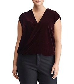Lauren Ralph Lauren Plus Size Velvet V-Neck Top