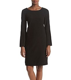 NY Collection Pleat Sleeve Velvet Dress