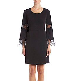 NY Collection Black Crochet Bell Sleeve Dress