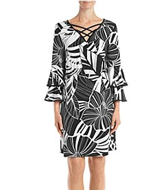 NY Collection Jet Floral Layer Sleeve Dress