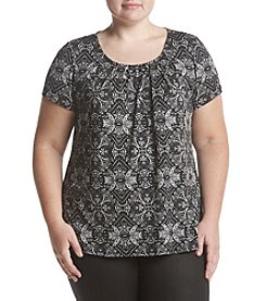 Studio Works Plus Size Printed Pleated Top