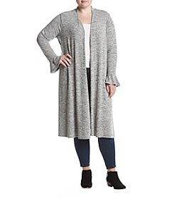 Chelsea & Theodore Plus Size Bell Cuff Long Cardigan