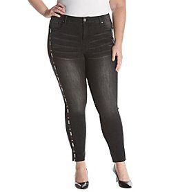 Ruff Hewn Plus Size Black Wash Arrow Embroidered Detail Jeans
