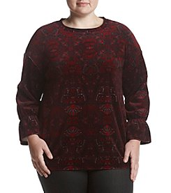 Ruff Hewn GREY Plus Size Bell Sleeve Velvet Top