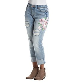 Ruff Hewn Petites' Painted Floral Jeans