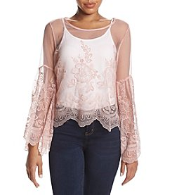 Sequin Hearts Lace & Mesh Bell Sleeve Top