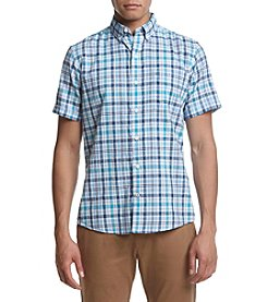 IZOD Men's Saltwater Dockside Short Sleeve Plaid Button Down Shirt