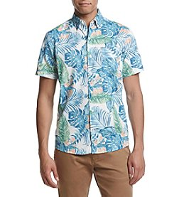 IZOD Men's Saltwater Dockside Tropical Short Sleeve Chambray Shirt
