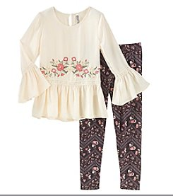 Beautees Girls' 7-16 2 Piece Long Sleeve Embroidered Top And Leggings Set