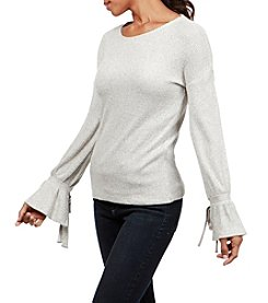 Lucky Brand Tie Bell Sleeve Ribbed Pullover Top