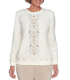Alfred Dunner Petites' Center Embroidered Fleece Top