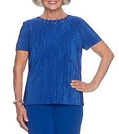 Alfred Dunner Petites' Textured Knit Roller Top