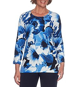 Alfred Dunner Petites' Floral Print Jewel Detail Sweater