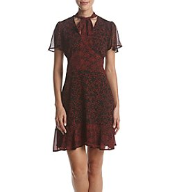 MICAHEL Michael Kors Petites' Star Print Flutter Sleeve Dress