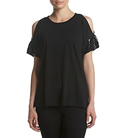 MICHAEL Michael Kors Petites' Sequin Cuff Cold Shoulder Tee