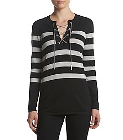 MICHAEL Michael Kors Petites' Lurex Lace Up Chain Detail Tunic