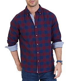 Nautica Long Sleeve buffalo Plaid Button Down Shirt