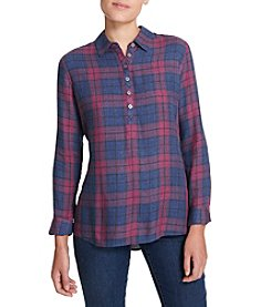 Weatherproof Vintage Burnout Plaid Button Woven Top
