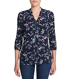 Weatherproof Vintage Ditsy Floral Lace Up Top