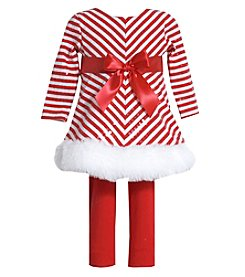Bonnie Jean Baby Girls' 12M-24M Mid Tiered Striped Dress And Leggings Set