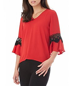 A. Byer Lace Up Bell Sleeve Top