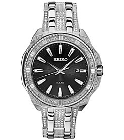 Seiko Men's Solar Silvertone Crystal Watch