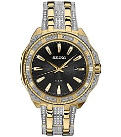 Seiko Men's Solar Goldtone Crystal Dial Watch