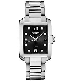 Seiko Men's Solar Rectangular Stainless Steel Watch