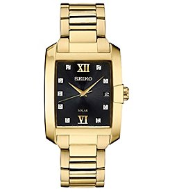 Seiko Men's Solar  Rectangular Goldtone Case Watch