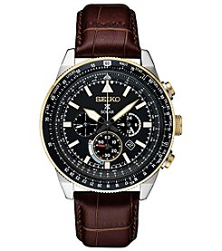 Seiko Men's Prospex Solar Chronograph With Brown Leather Strap