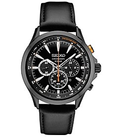 Seiko Men's Solar Chronograph Black Leather Strap Watch
