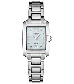 Seiko Women's Solar Silvertone Mother Of Pearl Watch