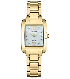 Seiko Women's Solar Goldtone Mother Of Pearl Watch