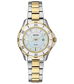 Seiko Women's Solar Two Tone Ceramic Bezel Mother Of Pearl Watch