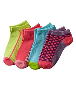 Miss Attitude Girls' Fashion Low Cut 4 Pack Socks