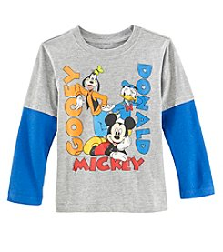 Disney Boys' 2T-7 Long Sleeve Mickey Best Friends Tee
