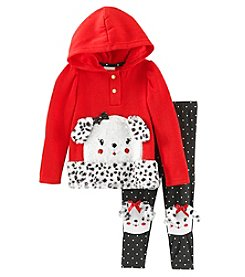 Nannette Baby Girls' Puppy Faux Sherpa Fleece Set