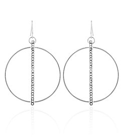 GUESS Simulated Crystal Accented Hoop Drop Earrings
