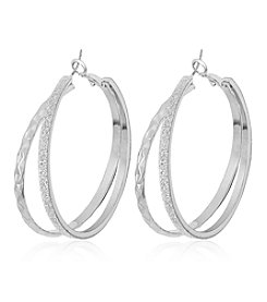GUESS Glitter Bypass Hoop Earrings