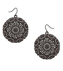 Erica Lyons Hematite Drop Disk Earrings