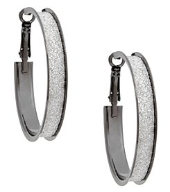 Erica Lyons Hematite Hoop Earrings