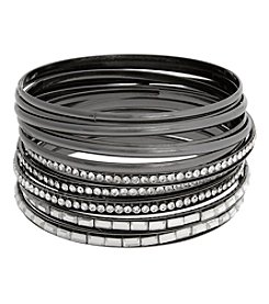 Erica Lyons Hematite Thin Bangle Bracelet Set