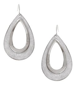 Erica Lyons Glitter Metal Open Teardrop Earrings