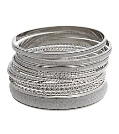 Erica Lyons Glitter Metal Thin Bangle Bracelet Set
