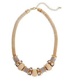 Erica Lyons Glitter Metal Short Slide Necklace