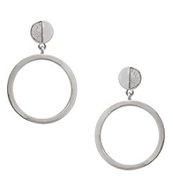 Erica Lyons Silvertone Hoop Drop Earrings