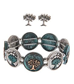 L&J Accessories Tree of Life Bracelet and Earring Box Set