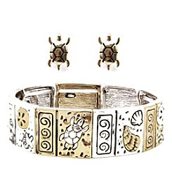 L&J Accessories Turtle Links Bracelet and Earring Box Set