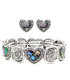 L&J Accessories Abalone Heart Bracelet and Earring Box Set